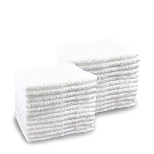 Pacific Linens 24-Pack White 100% Cotton Towel Washcloths, Durable, Lightweight, Commercial Grade and Ultra ()