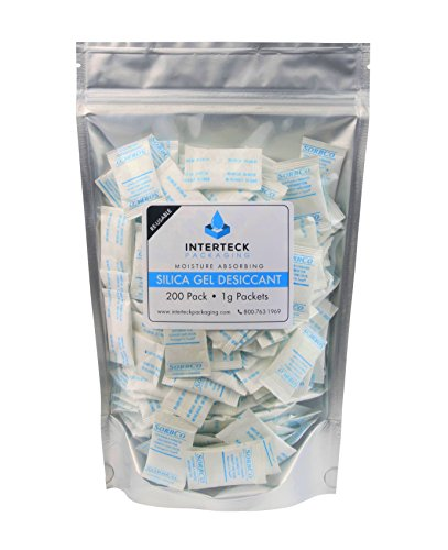 Review 200 Pack of 1 Gram FDA Silica Gel Tyvek Desiccant Packets and Dehumidifiers – Rechargeable