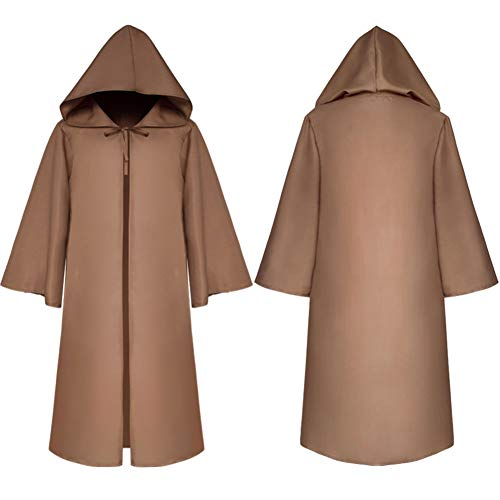 Dasior Unisex Hooded Cloak Robe Halloween Cosplay Knight Fancy Cape Party Costumes Child M -