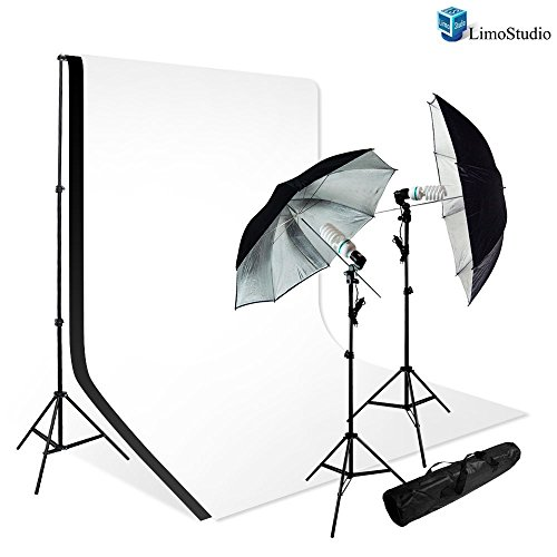 LimoStudio New Photo Photography Video Studio Umbrella Continuous Lighting Light Kit Set - 2x Lighting Stand by LimoStudio
