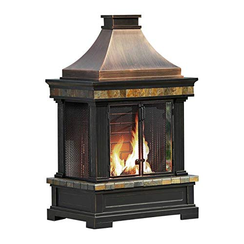 Outdoor Fireplace Brownston Steel Wood Burning Weather Resistant Fireplace with Log Grate and Fire Poker by Generic