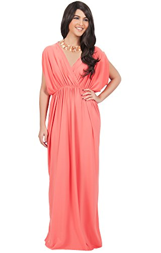 KOH KOH Plus Size Womens Long Sexy Grecian Short Sleeve Summer Empire Bridesmaid Bridesmaids Wedding Guest Casual Party Evening Sundress Gown Gowns Maxi Dress Dresses, Coral 2 X 18-20 (2)