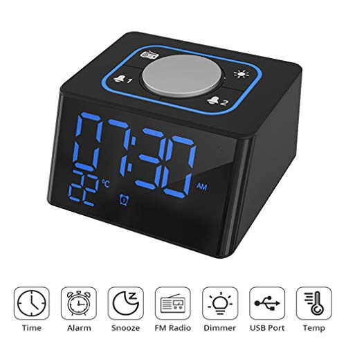 PingPIN Alarm Clock Radio, Digital LED Clocks, Desk Alarm Clock Thermometer with Snooze, Dual USB Charging, 12/24 Hour, FM Radio, Dimmer, USB Powered Clock Battery Backup for Bedroom/Kitchen/Office ..