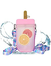 Popsicle Water Bottle with Strap, Creative Kawaii Water Bottle with Straw for Kids Transparent Water Jug Juice Drinking Cup Suitable for Camping Outdoor Travel Kids School 300ML