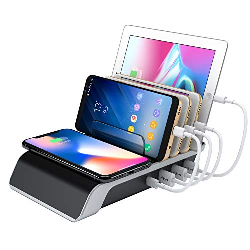 Wireless Charge Station for Multiple Devices Smart Dock Organizer for Smartphones Tablets Phone Gadgets 4 port Charger -