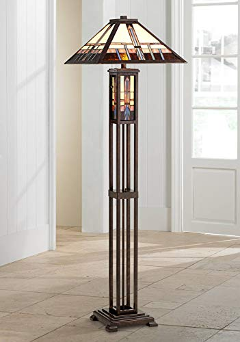 Mission Floor Lamp Art Deco with Nightlight Oiled Bronze Stained Glass Shade for Living Room Reading Bedroom - Robert Louis -