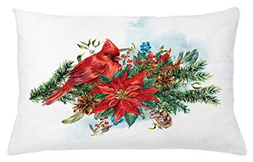 Monroe Valentine Cardinal Throw Pillow Cushion Cover, Christmas Bird on Festive Floral Bouquet Poinsettia Pinecones and Berries, Decorative Square Accent Pillow Case, 26 X 16 inches