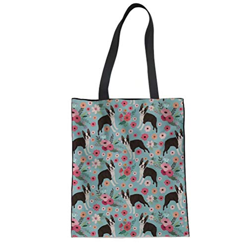 SANNOVO Boston Terrier Flower Print Tote Bag Shoulder Bag Women Shopping Bag