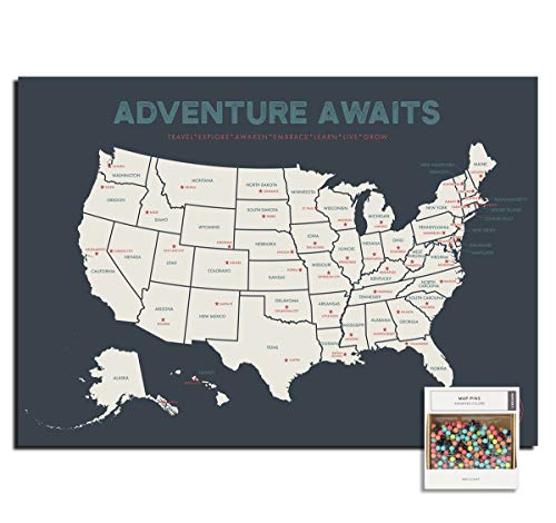 Epic Adventure Maps The United States Push Pin Map 24