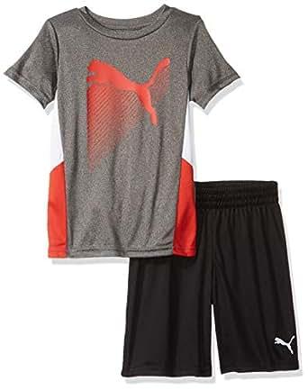 PUMA Little Boys' T-Shirt & Short Set, Coal Heather Grey, 4