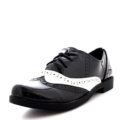 Viva Mujer Abarcas Gorra de ALA Trabajo Vintage Formal Diseñador Oficina Zapatos Planos Negro/Blanco Patentar