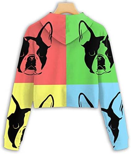 スポーツジムオフィス学校のテリアポップアートDoogレディースカジュアル長袖Colorblockプルオーバースウェットクロップトップ