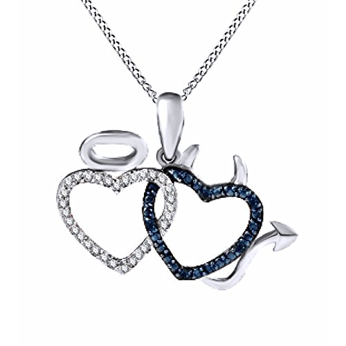 Blue & White Natural Diamond interlocking Devil & Angel Hearts Pendant Necklace in 925 Sterling Silver
