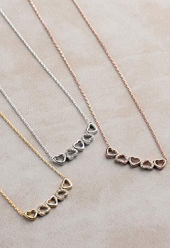 Tiny Heart Diamond Necklace, Silver Hearts Necklace, Diamond Necklace for Love, Real Diamond Necklace, Dainty Necklace, Diamond Heart Choker