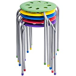 Pearington Kids Classroom & Home Steel Stacking Stool, Multi-Color (Pack 5)