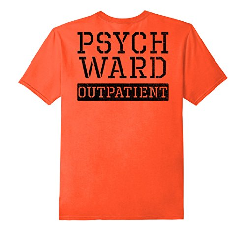 Mens Psych Ward Outpatient Halloween Inmate Costume Orange Shirt Small Orange