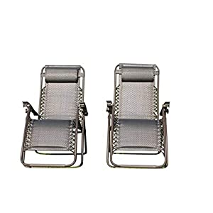 Garden Market Place Set of 2 Padded Garden Sun Lounger Relaxer Recliner Chairs in Tweed Weatherproof Textoline, 120 X…