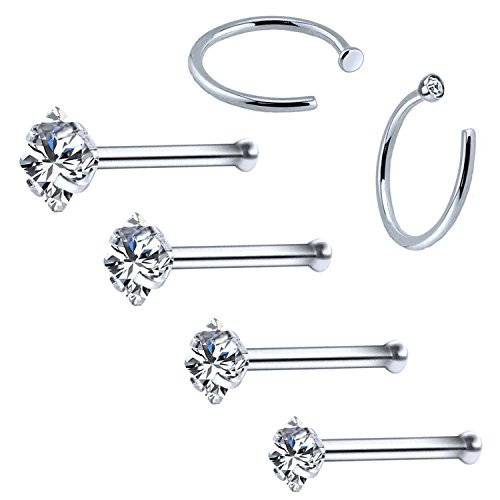 Steel Bone - BodyJ4You 6PC Nose Stud Bone Hoop Ring 20G Surgical Steel CZ Nostril Girl Women Piercing Jewelry