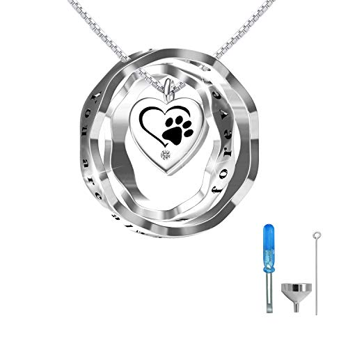 oGoodsunj S925 Sterling Silver Cremation Jewelry Urn Pendant Necklace Ashes Keepsake Necklaces for Women - You are Always in My Heart I Love You Forever (Pet)