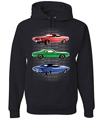 1970 Dodge Challenger Hoodie 1st Gen T/A Classic Muscle Car Sweatshirt Black XL