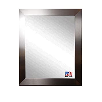 American Made Rayne Flat Stainless Silver Wall Mirror, 31 x 37