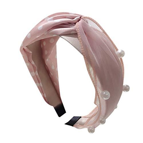 Iusun Hairband Polka Dot Pearl Tie Beading Bow Knot Cross Tie Retro Vintage Wide Hair Head Hoop Hairpin Accessory Women Girls Jewelry Decoration Headband Headwear -