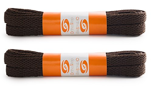 (OrthoStep Flat Dress Brown 30 inch Shoelaces 2 Pair Pack)