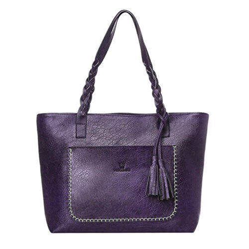 - Women's Leather Tassels Handbag Shoulder Messenger Bag Ladies Satchel Tote Bags (Purple)