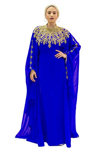 Covered Bliss Athena Kaftan for Women - 100% Chiffon Made with Adjustable Hidden Waist Strap -Elegant Long Sleeve Maxi Dress/Caftan with Alluringly Beautiful Gold Beads and Crystal