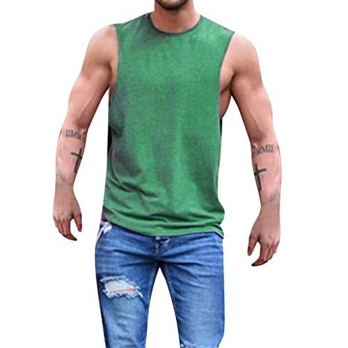 (HYIRI Men's Summer O-Neck Sleeveless Casual Multiple Colour Solid Simple Pullover Tank Tops Blouse T-Shirt)