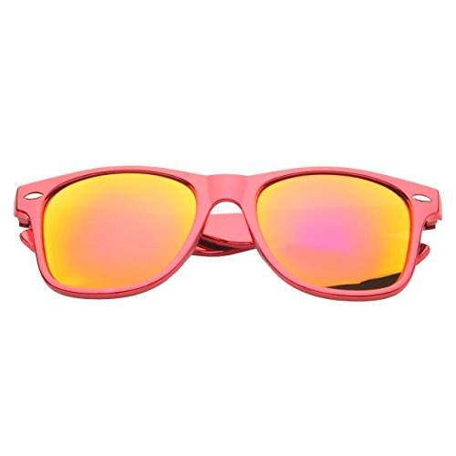 MLC Eyewear ® Stylish Retro Square Fashion Sunglasses in Red Frame Pink - Boots Ray Bans