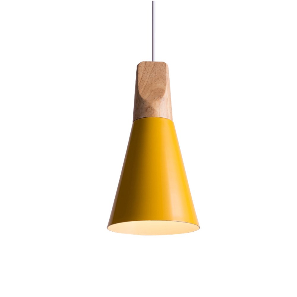 Iron Mini Chandelier, Postmodern LED Wood Dining Room Cafe Study Ceiling Lamp Nordic Aluminum Cafe Bedroom Small Pendant Light, Black, Gray, White ( Color : Yellow ) by HOIHO (Image #1)