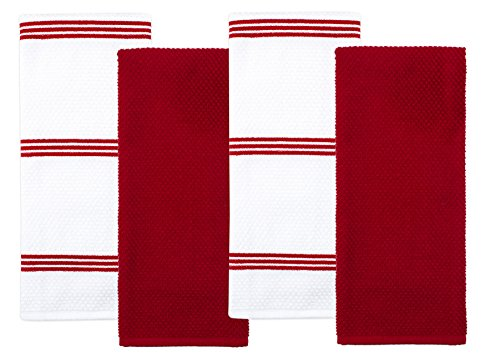 (Sticky Toffee Cotton Terry Kitchen Dish Towel, Red, 4 Pack, 28 in x 16 in)