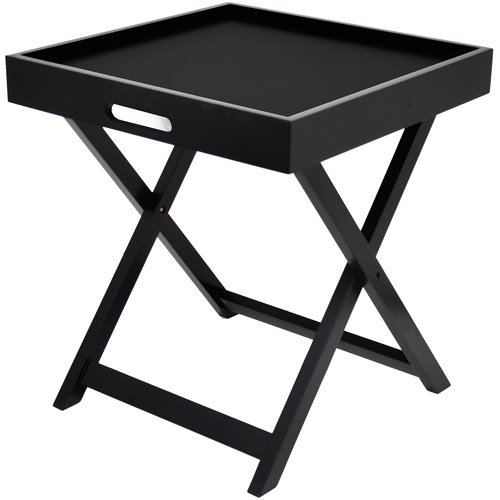 Urban Shop Side Table with Removable Tray - Black - Home Furniture - Living or Bedroom - End Tables - Modern and Sleek Design - Plastic - Can Also Be Use As Tray for Serving or Dining by Urban Shop