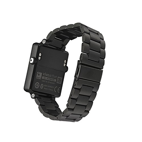(Garmin vivoactive Replacement Watch Band,Shangpule Stainless Steel Metal Replacement Smart Watch Band Link Bracelet with Double Button Folding Clasp for Garmin vivoactive (Black))