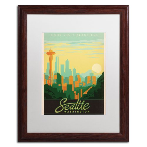UPC 886511472075, Trademark Fine Art Seattle Canvas Art by Anderson Design Group, 16 by 20-Inch, White Matte with Wood Frame