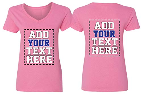 Custom V Neck T Shirts for Women - Make Your OWN Shirt - Add Your Number Text Printing |