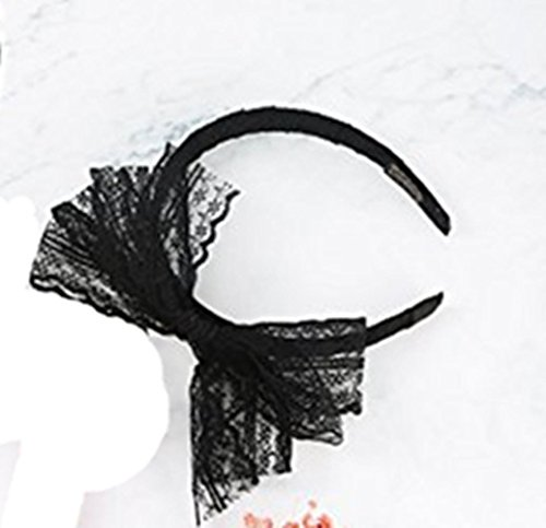 Zhisan Party Lace Bow Headband Hair Band 80s Costumes for Women (80s Hairband Adult Costumes)