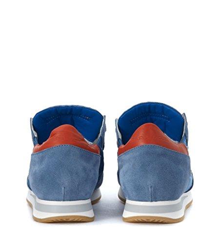 Philippe Model Sneakers Tropez in Tessuto e Camoscio Blu Avio Blu