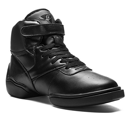 1500 Rumpf Dancesneaker Jazz Street Hip Hop Fitness Sports women men Dance Shoe High Top Sneaker Trainer Leather Upper Black Black
