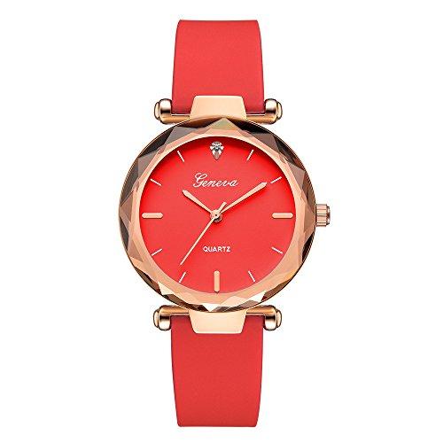 Muranba 2019 ! Fashion Womens Ladies Watches Geneva Silica Band Analog Quartz Wrist Watch (Red)
