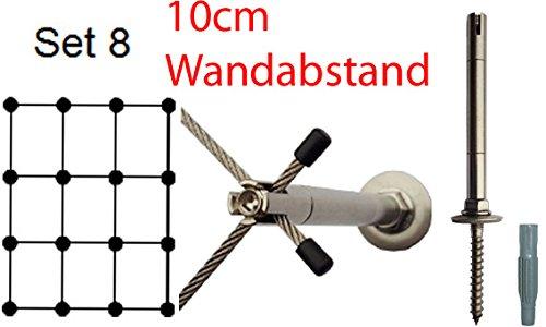 Ø 3mm Edelstahlseil, Rankhilfe 10 - Set 8 - Wandabstand: 10 cm, 32 m Edelstahlseil, 16 x Abstandshalter Edelstahl