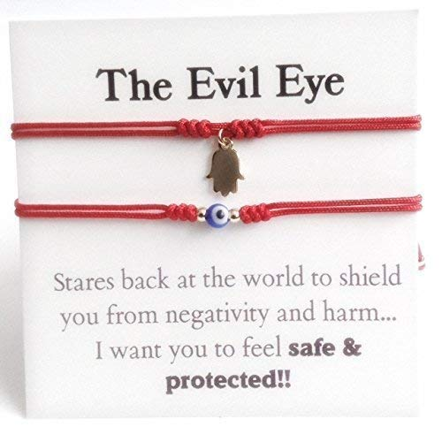 Couples Bracelets Set of 2 Red String Adjustable Evil Eye Hamsa Charm ()