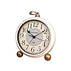 Maxspace Table Clock, 5.2 Retro Vintage Non-Ticking Desk Alarm Clock, Small Alarm Clock with Large Numerals and HD Glass, for Kids Seniors Indoor Decor (White)