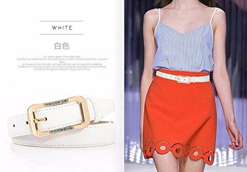 LONFENNENR Diamond buckle belt ladies pants belt genuine fashion belt,110cm,white Father's Day Mother's Day