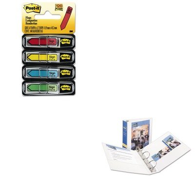 KITAVE05741MMM684SH - Value Kit - Avery Economy View Binder with Round Rings (AVE05741) and Post-it Arrow Message 1/2amp;quot; Flags (MMM684SH) by Avery