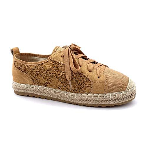 Scarpa Cammello Comfortable 3 Cm Espadrillas Scarpe Piatto Perforato Merletto Derby Romantico Angkorly Donna Moda Tennis Con Paglia Tacco wTf1qE