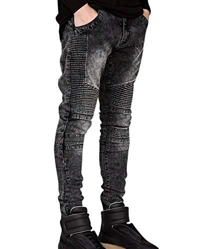 Da Jeans Semplice Taglio Slim Grau Fit Denim Con Motociclista Pantaloni Destrutturato Strappati Casual Stile Uomo ZqfrqFd