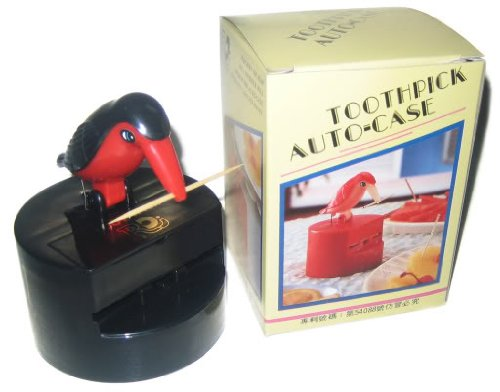 Toothpick Dispenser (Bird) Color: Red / Black by RDJ