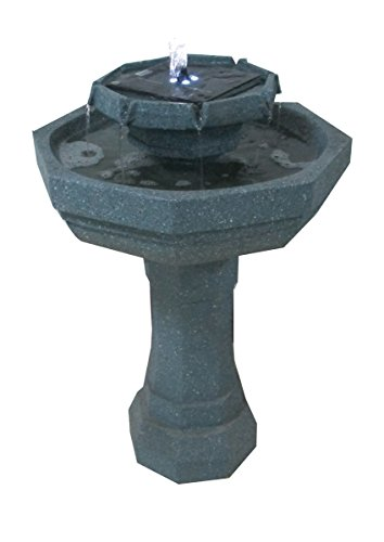 2 Tier Octagonal Sage Fountain Solar Birdbath with LED Lights ASF302A by Patriot